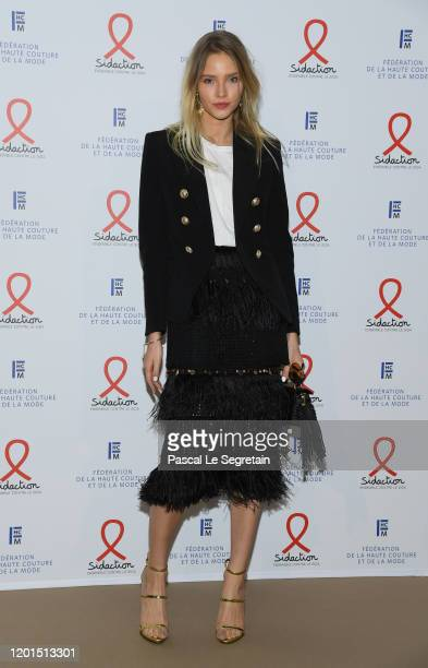 Sasha Luss attends Sidaction Gala Dinner 2020 At Pavillon Cambon on January 23, 2020 in Paris, France.