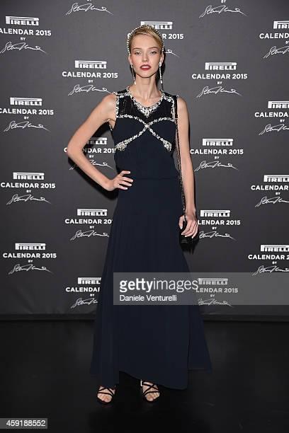 Sasha Luss attends the 2015 Pirelli Calendar Red Carpet on November 18 2014 in Milan Italy