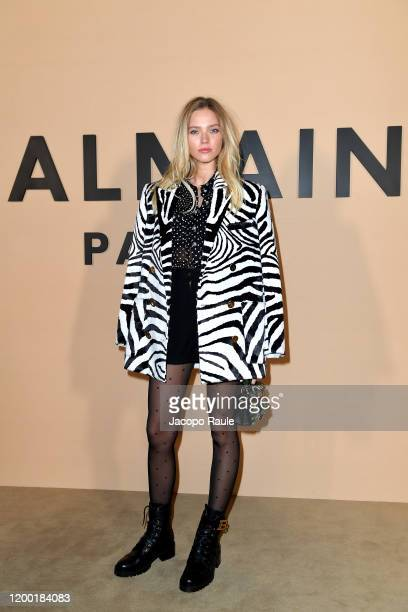 Sasha Luss attends the Balmain Menswear Fall/Winter 20202021 show as part of Paris Fashion Week on January 17 2020 in Paris France