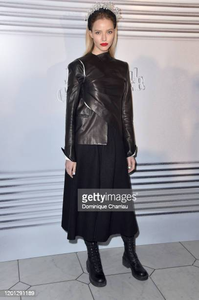 Sasha Luss attends the JeanPaul Gaultier Haute Couture Spring/Summer 2020 show as part of Paris Fashion Week at Theatre Du Chatelet on January 22...