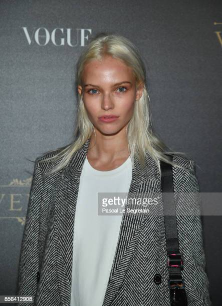 Sasha Luss attends the Vogue Party as part of the Paris Fashion Week Womenswear Spring/Summer 2018 at Le Petit Palais on October 1 2017 in Paris...