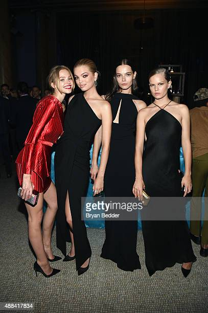 Sasha Luss Daphne Groeneveld Mina Cvetkovic and Anna Ewers attends the Unitas gala against Sex Trafficking at Capitale on September 15 2015 in New...