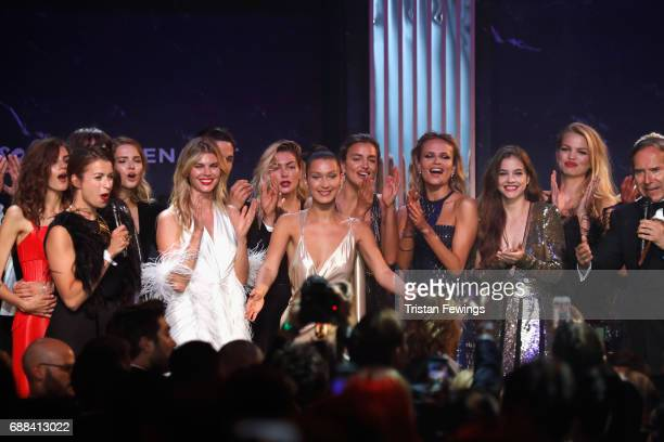 Sasha Luss Maryna Linchuk Jessica Hart Bella Hadid Irina Shayk Natasha Poly Barbara Palvin Daphne Groeneveld and Simon de Pury are seen on stage at...