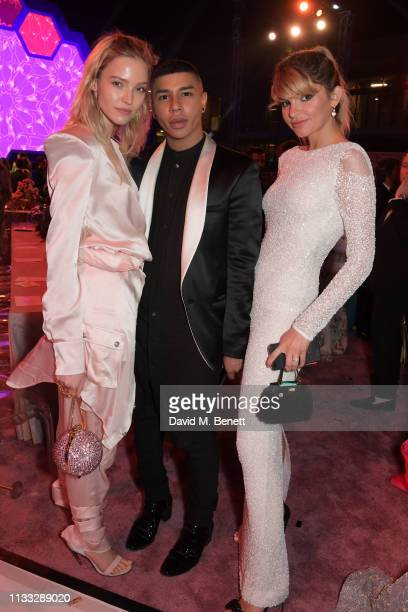 Sasha Luss Olivier Rousteing and guest attend the Fashion Trust Arabia Prize awards ceremony on March 28 2019 in Doha Qatar