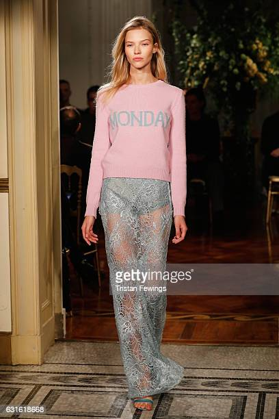 Sasha Luss walks the runway at the Alberta Ferretti show during Milan Men's Fashion Week Fall/Winter 2017/18 on January 13 2017 in Milan Italy