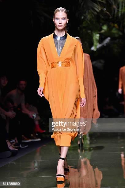 Sasha Luss walks the runway during the Balmain show as part of the Paris Fashion Week Womenswear Spring/Summer 2017 on September 29 2016 in Paris...
