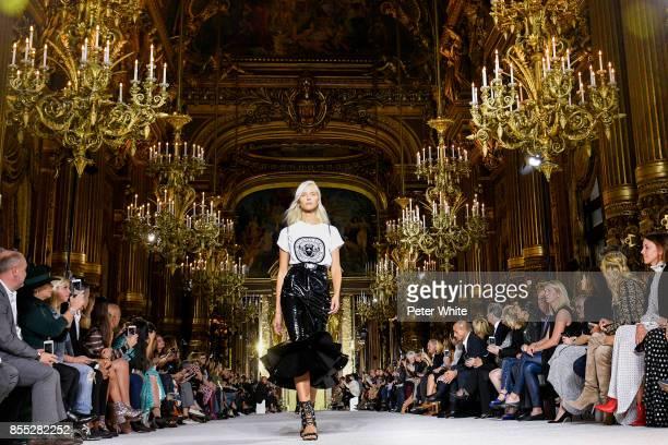 Sasha Luss walks the runway during the Balmain show as part of the Paris Fashion Week Womenswear Spring/Summer 2018 on September 28 2017 in Paris...