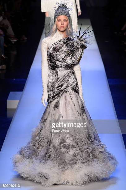 Sasha Luss walks the runway during the Jean Paul Gaultier Haute Couture Fall/Winter 20172018 show as part of Haute Couture Paris Fashion Week on July...
