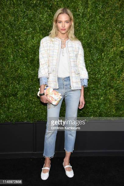 Sasha Luss wearing CHANEL attends as CHANEL hosts 14th Annual Tribeca Film Festival Artists Dinner at Balthazar on April 29 2019 in New York City