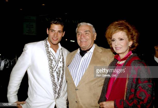 Sasha Mitchell Ernest Borgnine and Tova Borgnine during Spike of Bensonhurst Premiere at Egyptian Theater in Hollywood California United States