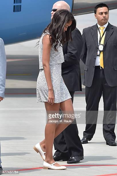 Sasha Obama arrives at Malpensa Airport on June 17 2015 in Milan Italy