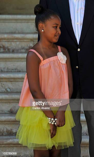 Sasha Obama arrives at the Marivent Palace on August 8 2010 in Palma de Mallorca Spain