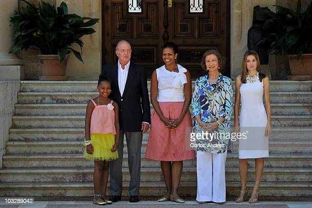 Sasha Obama, King Juan Carlos of Spain, U.S. First lady Michelle Obama, Queen Sofia of Spain and Princess Letizia of Spain at the Marivent Palace on...