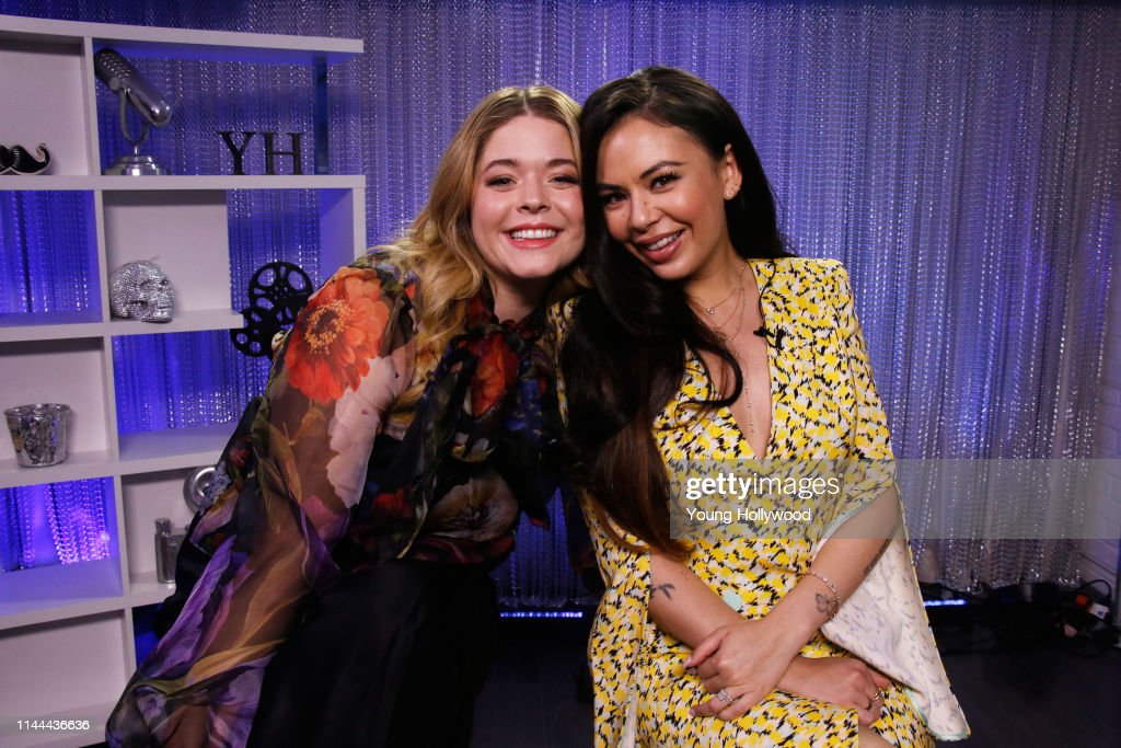 CA: Sasha Pieterse And Janel Parrish Visit Young Hollywood Studio