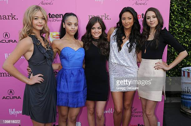 Sasha Pieterse Bianca Lawson Lucy Hale Shay Mitchell and Troian Bellisario arrive at the 12th Annual Young Hollywood Awards at the Wilshire Ebell...
