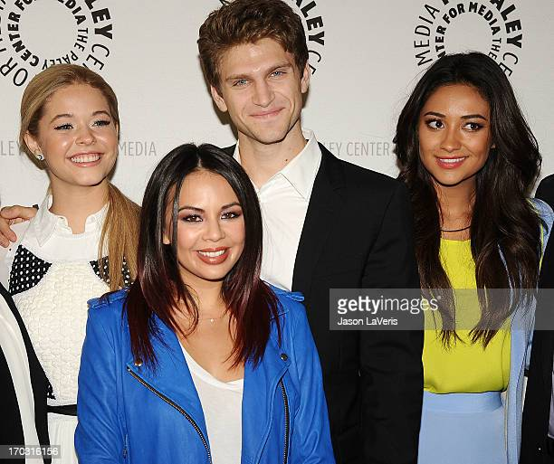 Sasha Pieterse Janel Parrish Keegan Allen and Shay Mitchell attend the Pretty Little Liars event at The Paley Center for Media on June 10 2013 in...