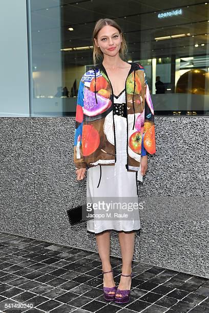 Sasha Pivovarova attends private dinner hosted by Miuccia Prada and Patrizio Bertelli during Milan Men's Fashion Week SS17 at Fondazione Prada on...