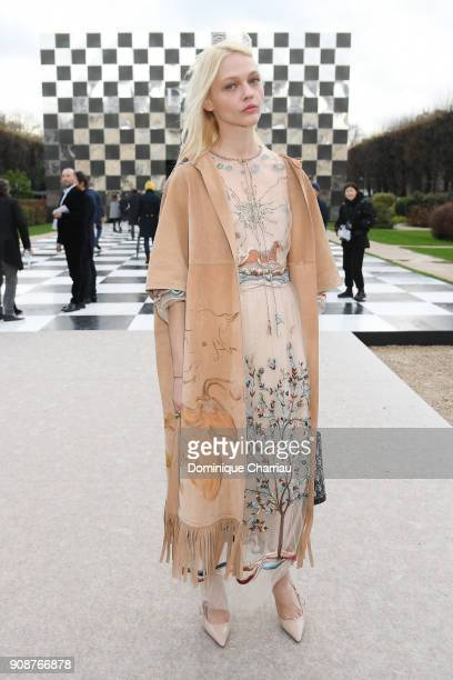Sasha Pivovarova attends the Christian Dior Haute Couture Spring Summer 2018 show as part of Paris Fashion Week on January 22 2018 in Paris France