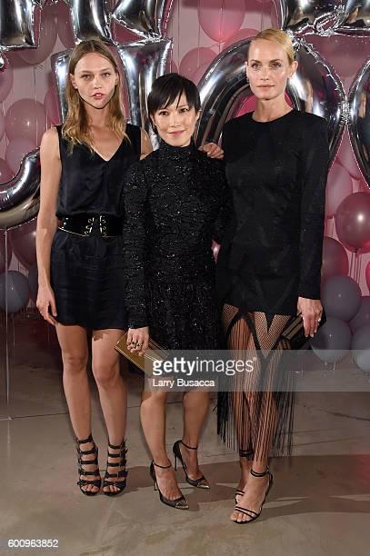 Sasha Pivovarova Jimmy Choo Creative Director Sandra Choi and Amber Valletta attend the Jimmy Choo 20th Anniversary Event during New York Fashion...