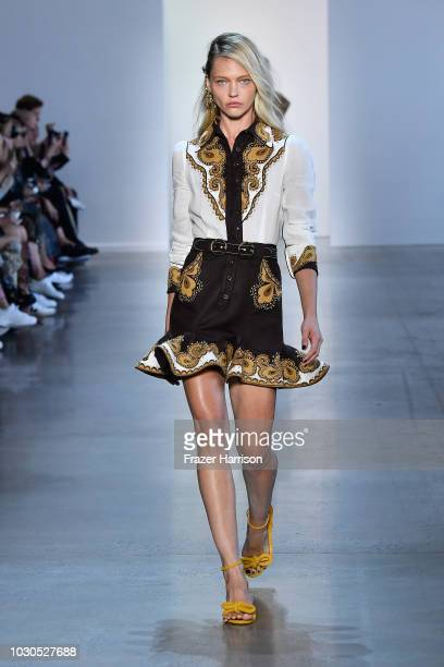Sasha Pivovarova walks the runway for Zimmermann during New York Fashion Week The Shows at Gallery I at Spring Studios on September 10 2018 in New...