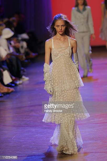 Sasha Pivovarova wearing Marc Jacobs Spring 2006 during Olympus Fashion Week Spring 2006 Marc Jacobs Runway at NY State Armory in New York City New...