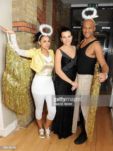 Sasha Salmon Rudi Salmon and Colin Salmon attend the Portobello Road Christmas Panto at the Tabernacle in Notting Hill on December 17 2012 in London...