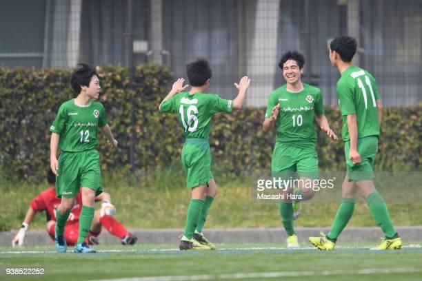 Sasha Segawa of Tokyo Verdy U15 celebrates the second goal during the U15 Kirin Lemon Cup match between Tokyo Verdy U15 and Ventforet Kofu U15 on...