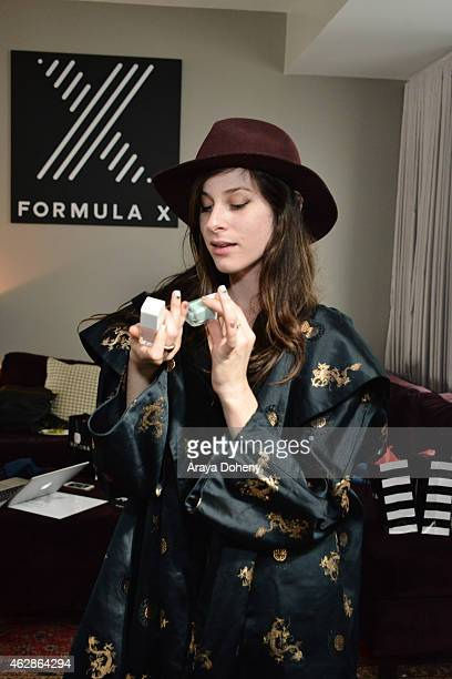 Sasha Spielberg of Wardell attends the Formula X Nail Polish launches partnership with Roc Nation at Palihouse on February 6 2015 in West Hollywood...