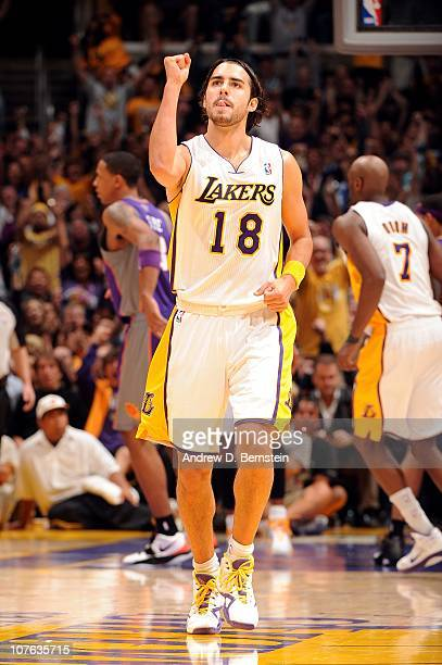 Sasha Vujacic of the Los Angeles Lakers celebrates after a play against the Phoenix  Suns during 10d76f4a6