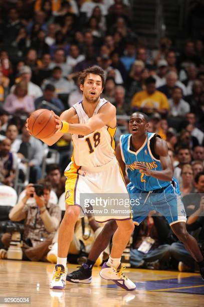 Sasha Vujacic of the Los Angeles Lakers holds the ball against Darren Collison of the New Orleans Hornets at Staples Center on November 8 2009 in Los...
