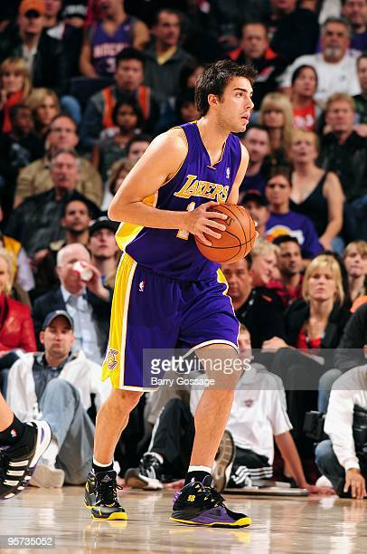 Sasha Vujacic of the Los Angeles Lakers moves the ball against the Phoenix  Suns during the 5682f3905