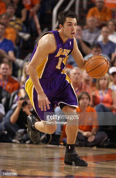 Sasha Vujacic of the Los Angeles Lakers moves the ball up court against the Phoenix Suns in Game One of the Western Conference Quarterfinals during...