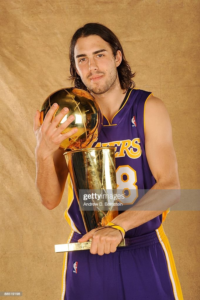 Sasha Vujacic #18 of the Los Angeles Lakers poses for a portrait after defeating the Orlando Magic in Game Five of the 2009 NBA Finals at Amway Arena on June 14, 2009 in Orlando, Florida. The Los Angeles Lakers defeated the Orlando Magic 99-86.