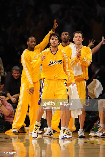 Sasha Vujacic of the Los Angeles Lakers reacts during a game against the Phoenix  Suns in 346dd001b