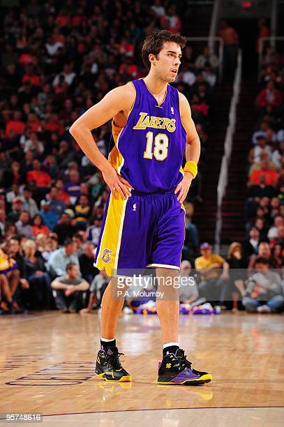 Sasha Vujacic of the Los Angeles Lakers stands on the court during the game  against the. Los Angeles Lakers v Phoenix Suns 00ef9f76d