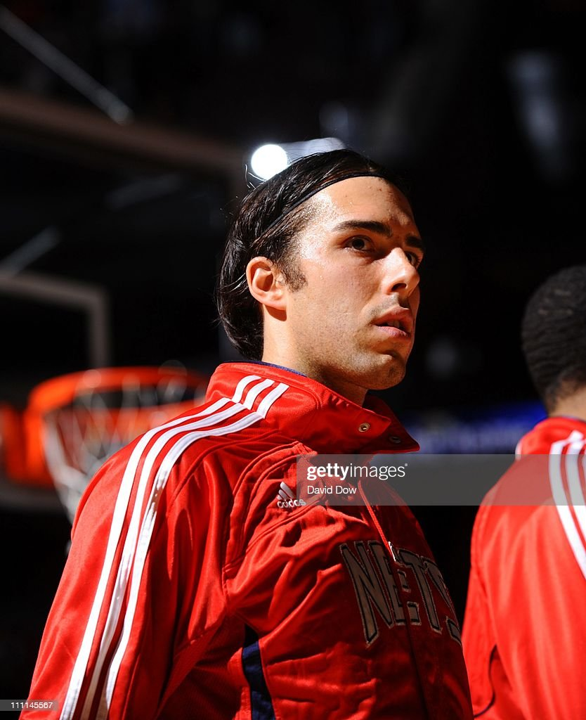 online store 40261 041ec Sasha Vujacic of the New Jersey Nets looks on before the ...