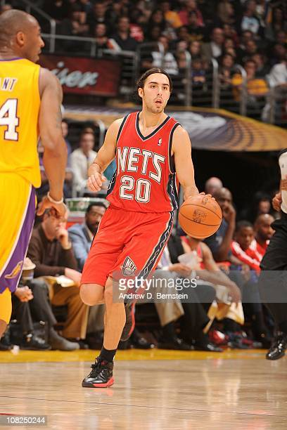 35526e450 Sasha Vujacic of the New Jersey Nets moves the ball against the Los Angeles  Lakers on