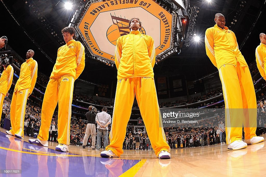 Sasha Vujacic, Pau Gasol and Andrew Bynum of the Los Angeles Lakers stand for the national anthem before the game against the Phoenix Suns in Game One of the Western Conference Finals during the 2010 NBA Playoffs on May 17, 2010 at Staples Center in Los Angeles, California. The Lakers won 128-107.