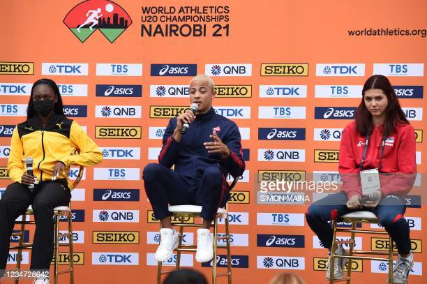 Sasha Zhoya , a French-Australian-Zimbabwean athlete, flanked by Jamaica's Ackera Nugent and Serbia's Angelina Topic, speaks during a press briefing...