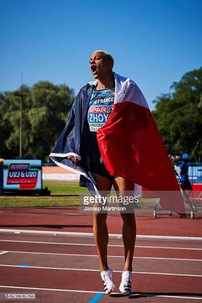 Sasha Zhoya of France celebrates in the Men's 110m Hurdles during European Athletics U20 Championships Day 3 at Kadriorg Stadium on July 17, 2021 in...