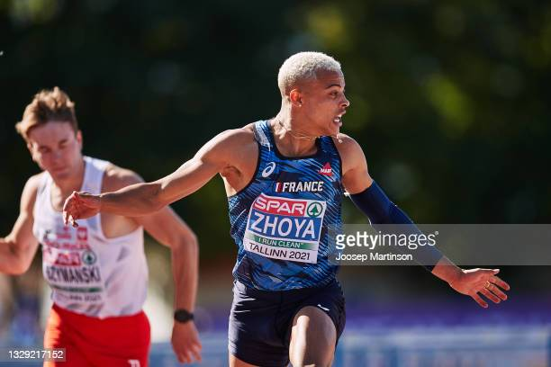 Sasha Zhoya of France competes in the Men's 110m Hurdles during European Athletics U20 Championships Day 3 at Kadriorg Stadium on July 17, 2021 in...