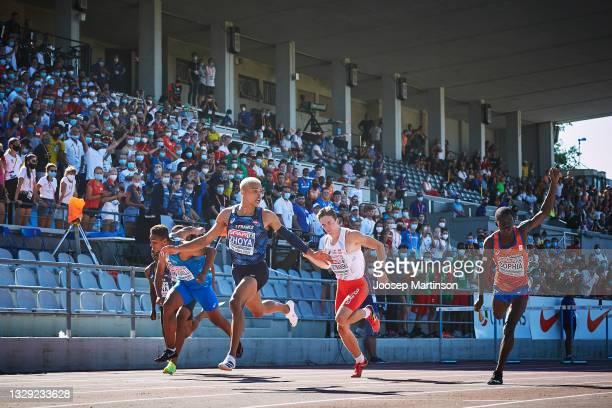 Sasha Zhoya of France finishes first in the Men's 110m Hurdles during European Athletics U20 Championships Day 3 at Kadriorg Stadium on July 17, 2021...
