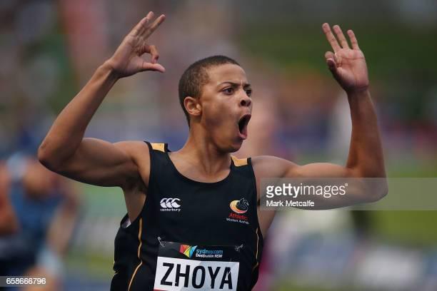 Sasha Zhoya of WA celebrates winning the mens under 17s 110m hurdles on day three of the 2017 Australian Athletics Championships at Sydney Olympic...