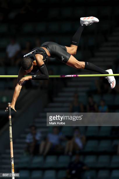Sasha Zhoya of Western Australia competes in the mens under 17 pole vault on day two of the 2017 Australian Athletics Championships at Sydney Olympic...