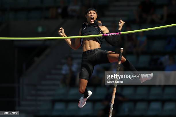 Sasha Zhoya of Western Australia reacts as he fails to clear the bar one an attempt for a new record in the mens under 17 pole vault on day two of...