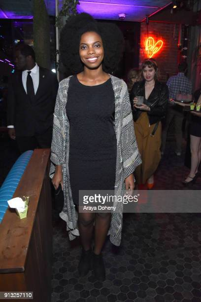 Sasheer Zamata attends the premiere of IFC Films' 'The Female Brain' afterparty at Avenue in Hollywood on February 1 2018 in Los Angeles California