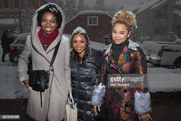 Sasheer Zamata Danielle Nicolet and Rachel Crow pose for a photo in the snow during the Sundance Film Festival on January 23 2017 in Park City Utah