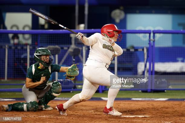 Sashel Palacios of Team Mexico bats in the sixth inning against Team Australia during softball opening round on day three of the Tokyo 2020 Olympic...