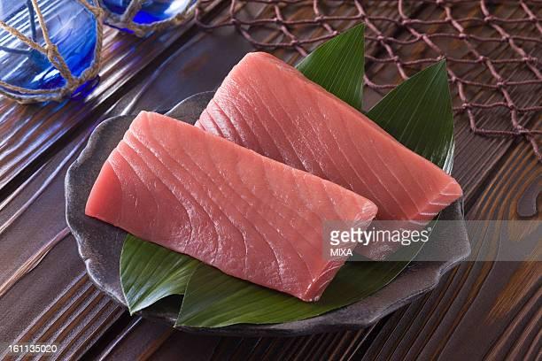 sashimi block of medium fatty tuna - sashimi stock photos and pictures