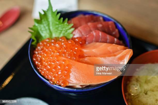 sashimi donburi/salmon maguro ikura don - sapporo japan stock pictures, royalty-free photos & images